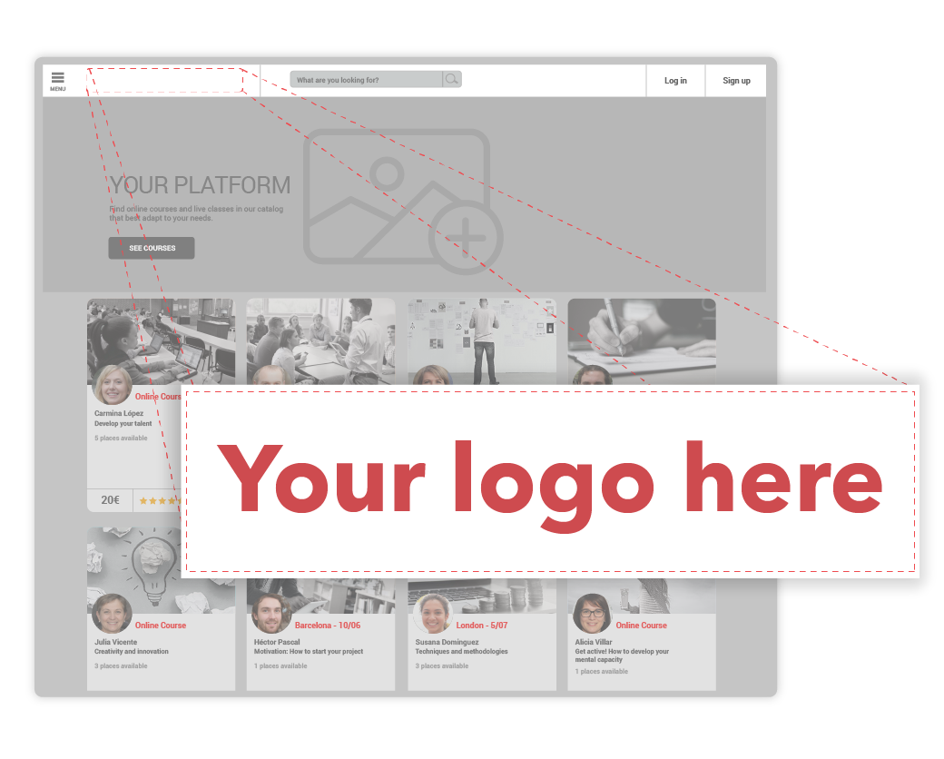Display your company's logo on your online learning school