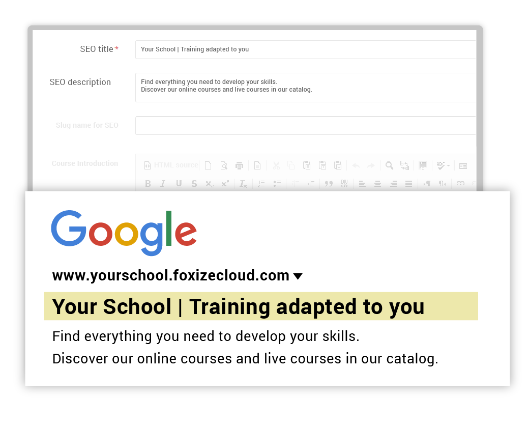 Use your own URL and email for your online school