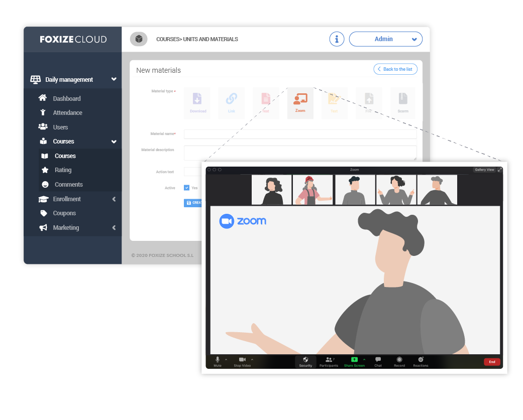 Make your Webinars with Zoom tool integrated in Foxize Cloud