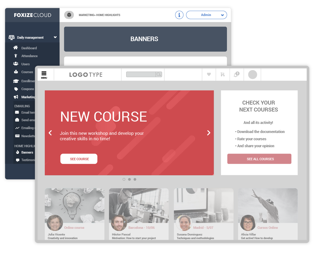Create banners for your online training school